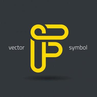 Creative line alphabet symbol  Letter F