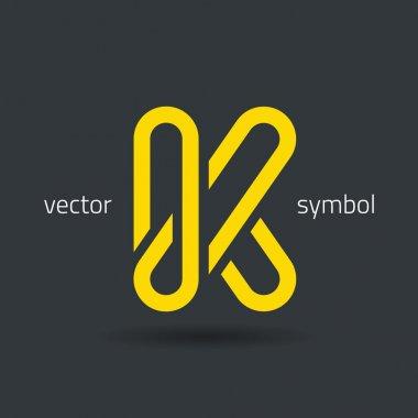 Creative line alphabet symbol  Letter K