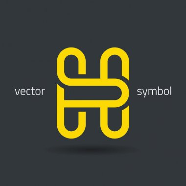Creative line alphabet symbol  Letter H