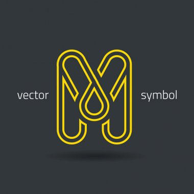 Creative line alphabet symbol  Letter M