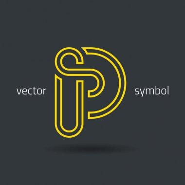 Creative line alphabet symbol  Letter P