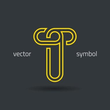 Creative line alphabet symbol  Letter T