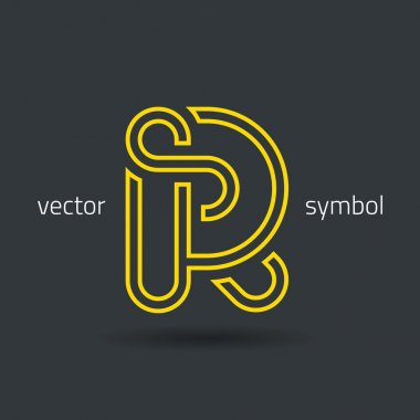 Creative line alphabet symbol  Letter R