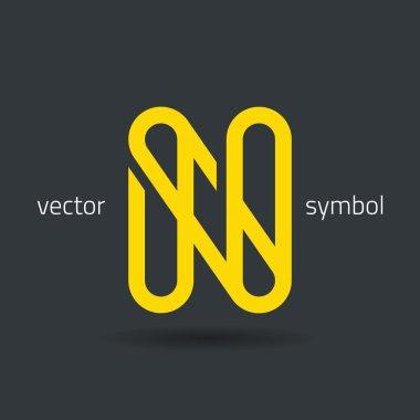 Creative line alphabet symbol  Letter N