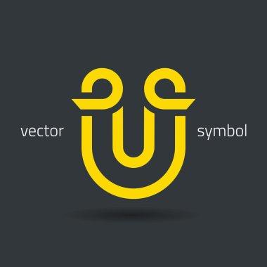Creative line alphabet symbol  Letter U