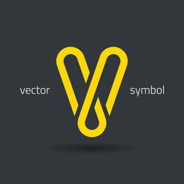 Creative line alphabet symbol  Letter V