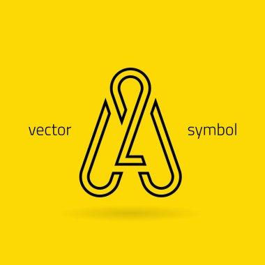 Graphic creative line alphabet symbol Letter A