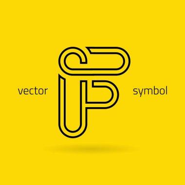 Graphic creative line alphabet symbol Letter F