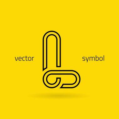 Graphic creative line alphabet symbol Letter L
