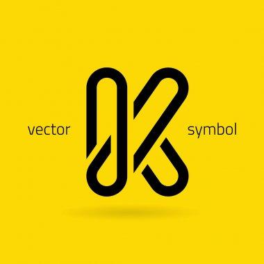 Graphic creative line alphabet symbol Letter K