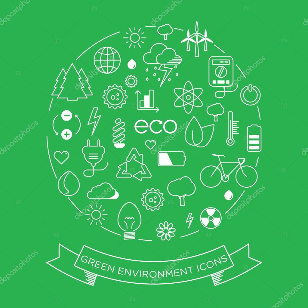 Environment and electricity  icon set
