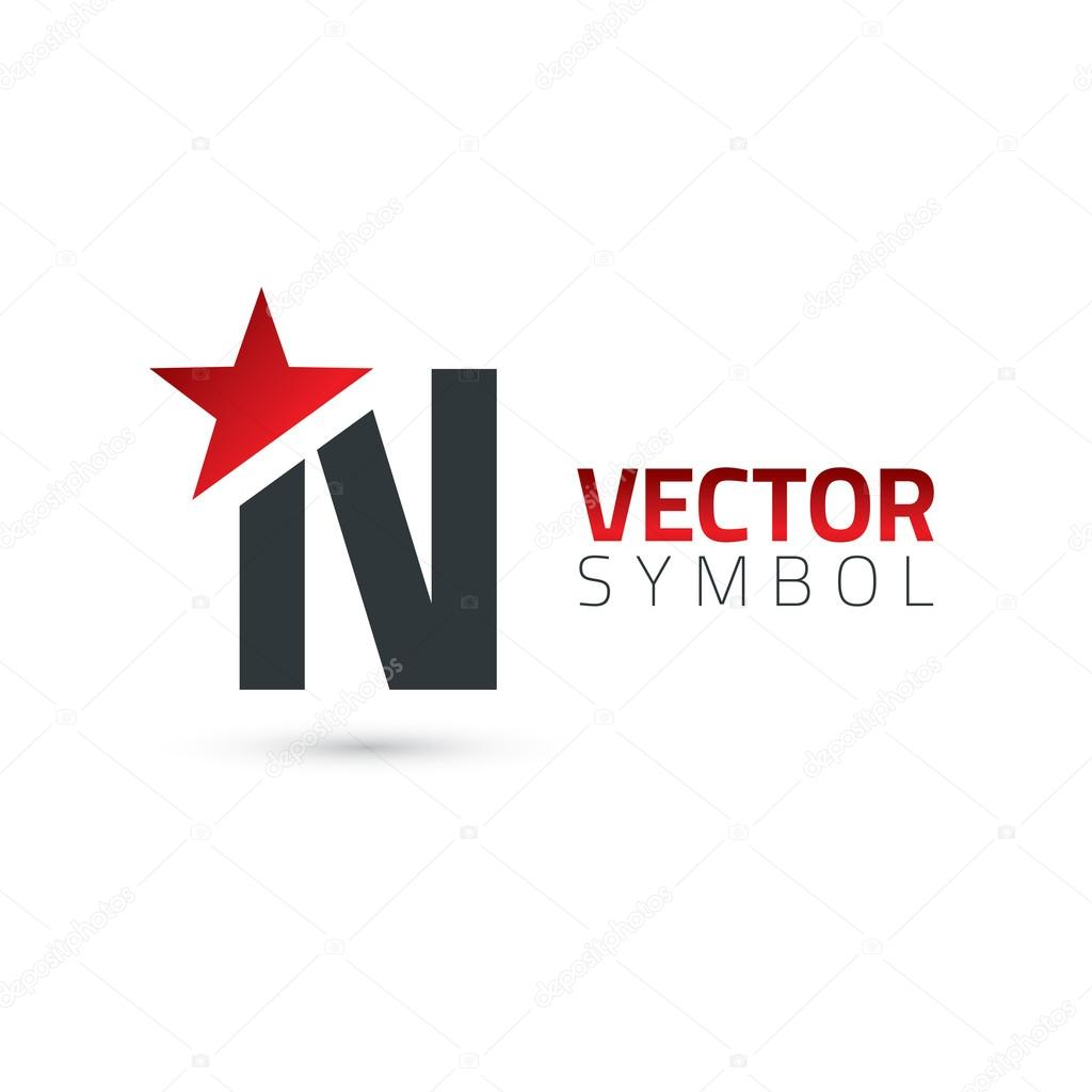 6ffd71bd7 Símbolo do alfabeto com estrela letra N — Vetores de Stock ...