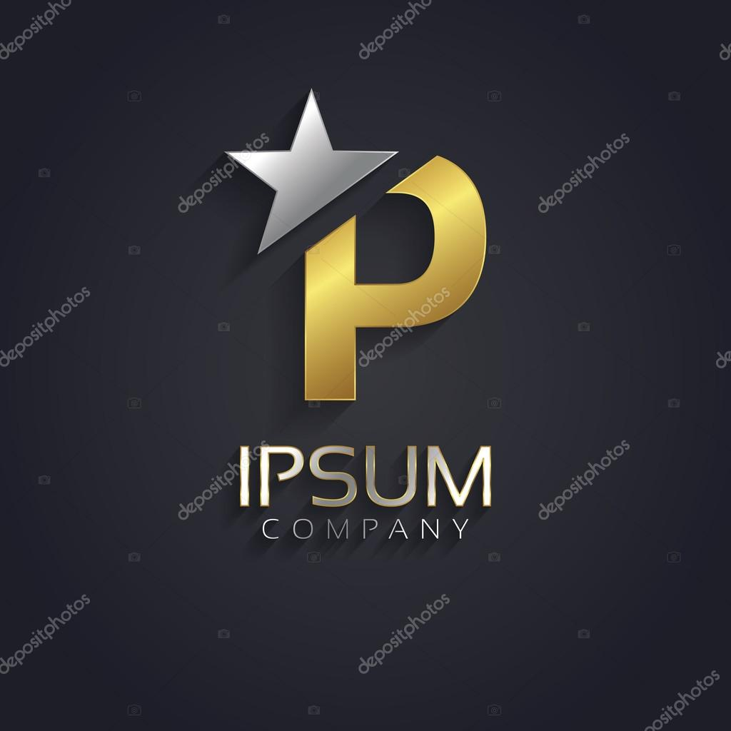 Elegant Alphabet Symbol With Star Element Letter P Stock Vector