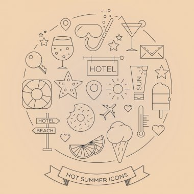 Set of minimal graphic summer icons