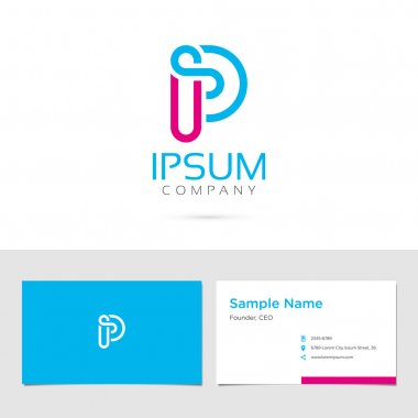 Alphabet symbol  business card   Letter P