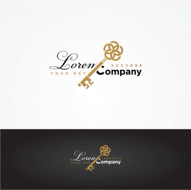 Key shaped illustration with sample text