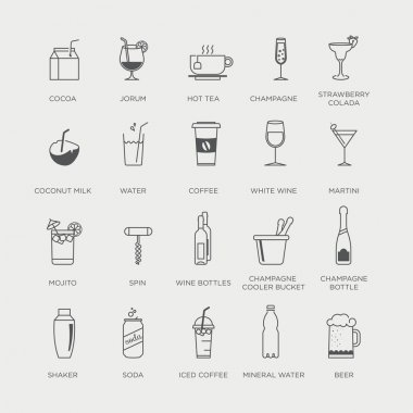 Set of minimal graphic drink