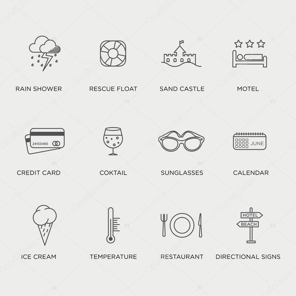 Minimal graphics | Set of minimal graphic summer icons