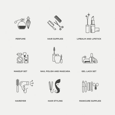beauty, cosmetics, and healthcare products icons