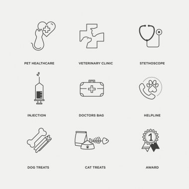pet and animal healthcare icons