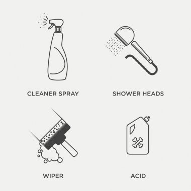 Housekeeping, cleaning icons set
