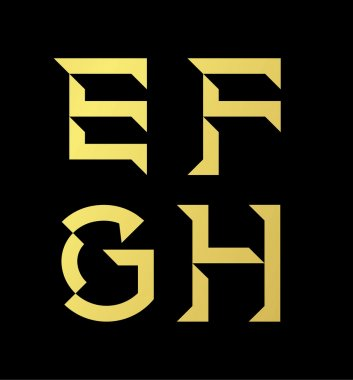 graphic alphabet in a set