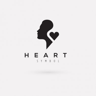 Vector graphic illustration of a woman silhouette with a heart and sample text clip art vector