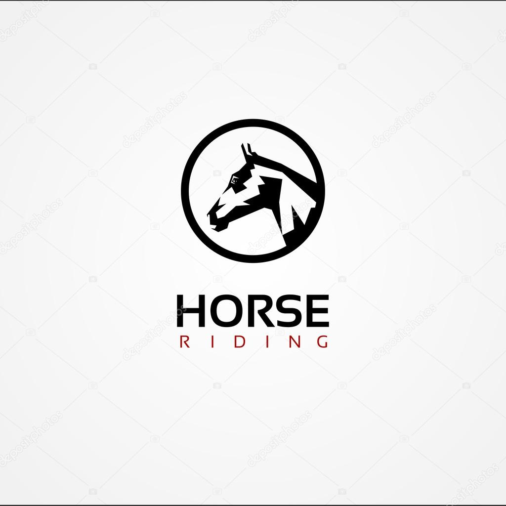 Horse face symbol logo stock vector feabornset 86228120 vector graphic symbol of a horse face with sample text vector by feabornset buycottarizona