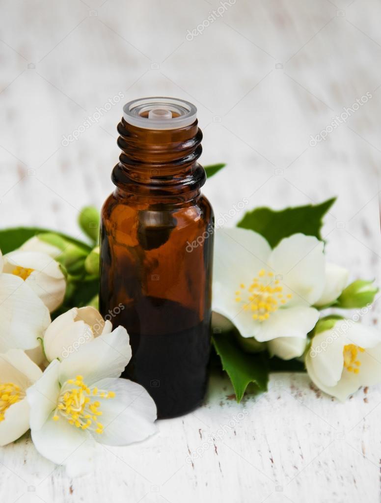 Essential Oil With Jasmine Flower Stock Photo Almaje 75466819