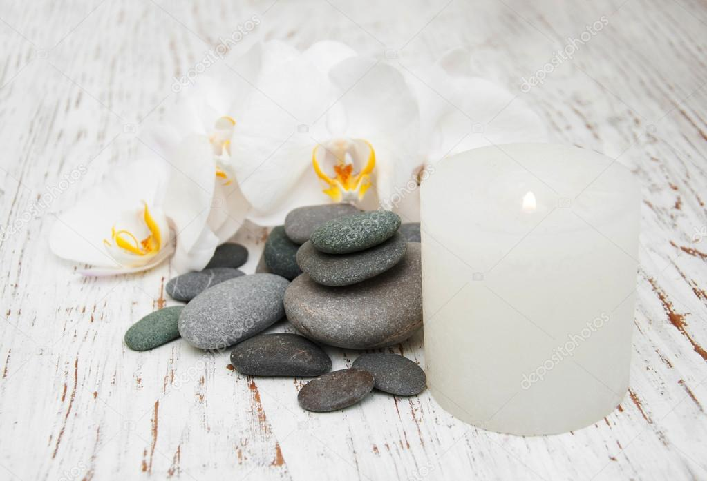 Spa stones, orchids and candle