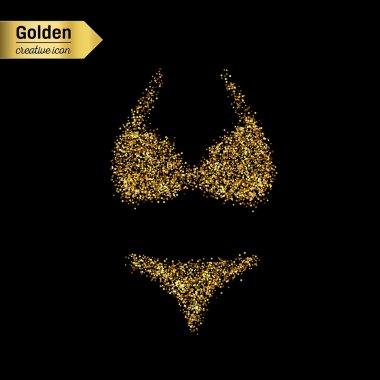 Gold glitter vector icon of swimsuit isolated on background. Art creative concept illustration for web, glow light confetti, bright sequins, sparkle tinsel, abstract bling, shimmer dust, foil.