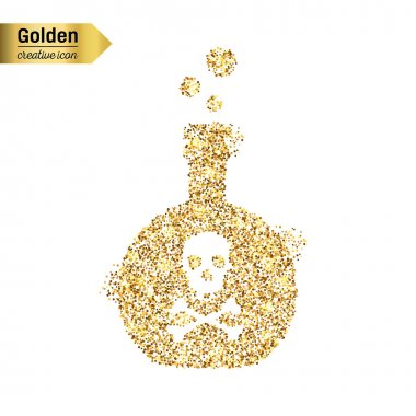 Gold glitter icon of  toxin