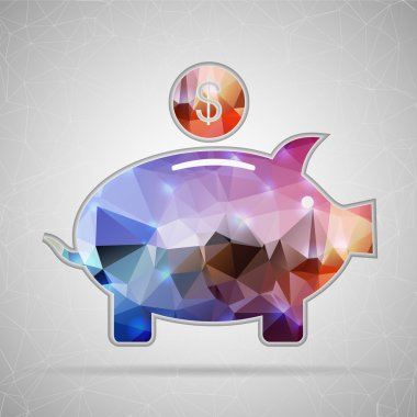 Abstract Creative concept vector icon of piggy bank for Web and Mobile Applications isolated on background. Vector illustration template design, Business infographic and social media, origami icons.