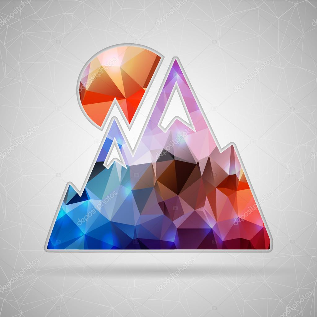 Abstract Creative concept vector icon of alps for Web and Mobile Applications isolated on background. Vector illustration template design, Business infographic and social media, origami icons.