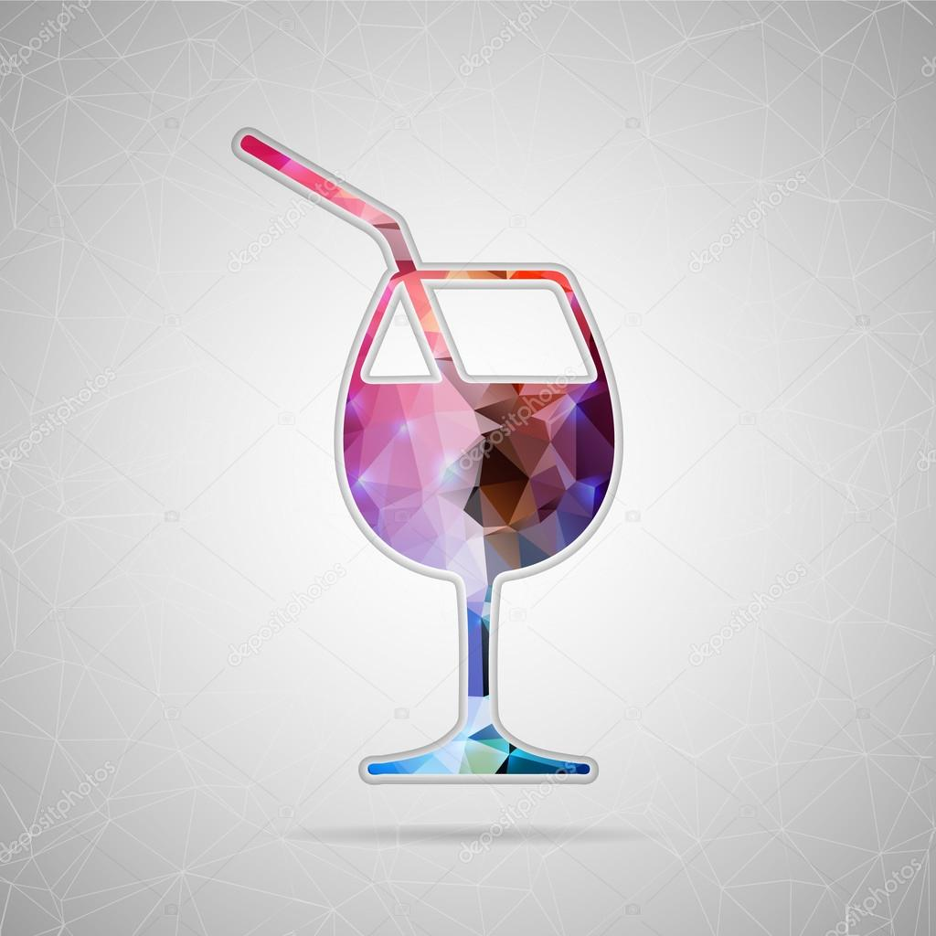Abstract Creative concept vector icon of a glass of drink for Web and Mobile Applications isolated on background. Vector illustration template design, Business infographic and social media, icons.