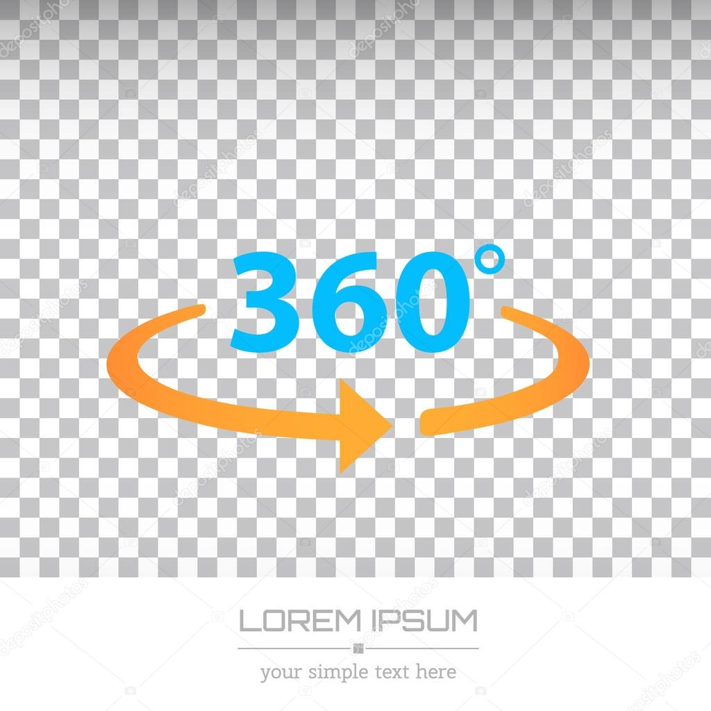 Abstract Creative concept vector image logo of 360 degrees for web and mobile applications isolated on background, art illustration template design, business infographic and social media, icon, symbol