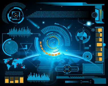 Abstract future, concept vector futuristic blue virtual graphic touch user interface HUD. For web, site, mobile applications isolated on black background, techno, online design, business, gui, ui stock vector