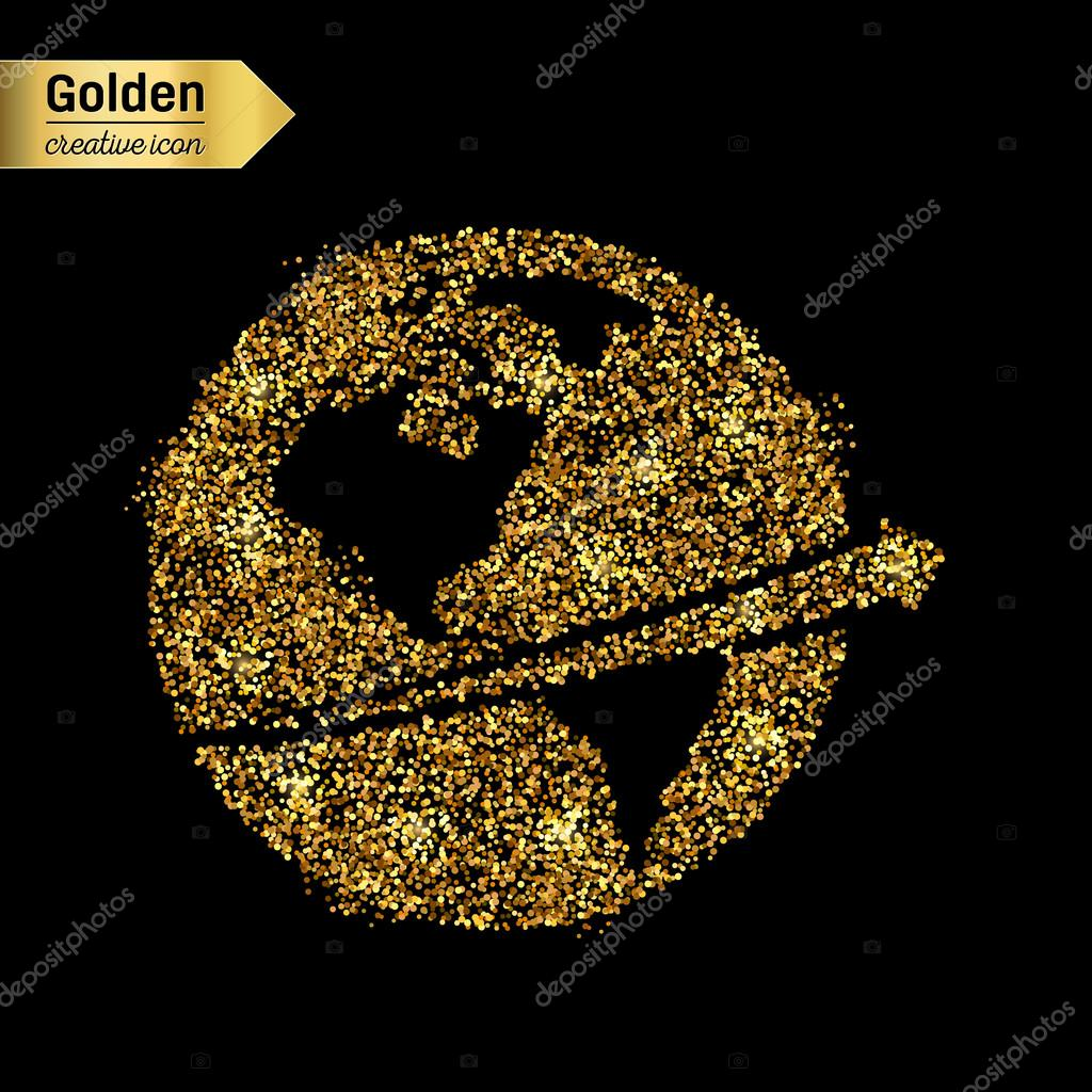 Gold glitter vector icon of planet earth isolated on background. Art creative concept illustration for web, glow light confetti, bright sequins, sparkle tinsel, abstract bling, shimmer dust, foil.