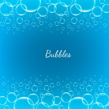 Abstract Creative concept vector shiny transparent bubbles for Web and Mobile Applications isolated on blue background, aqua art illustration template design, business infographic and social media.