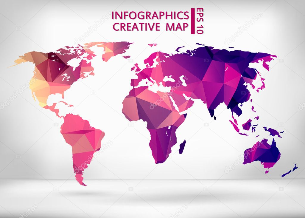 abstract creative concept vector map of the world for web and mobile applications isolated on background vector illustration creative template design