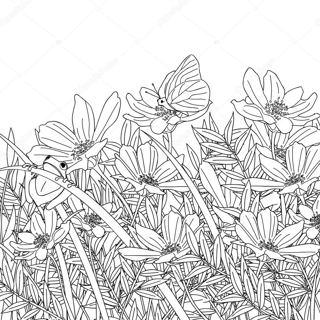 Flower garden sketch - A Flower Garden With Butterflies And Frogs Sketch Vector By Seesawname