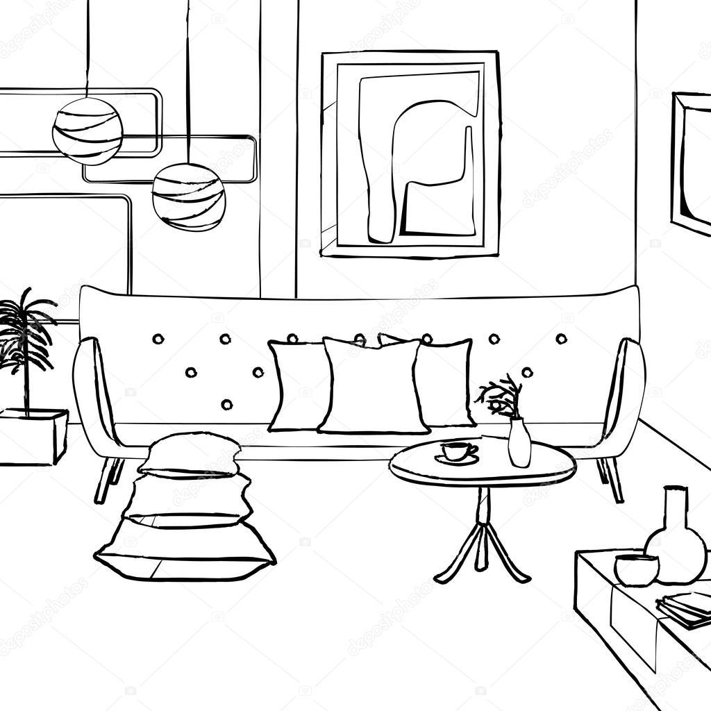 Colorful Book Room: Sofá Vermelho Na Sala De Estar, Interior Simples Sketch