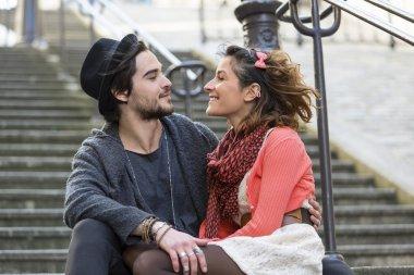 Couple visiting Paris
