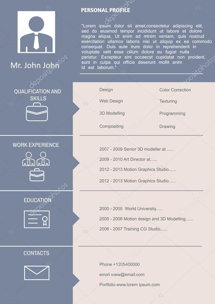 CV Curriculum Vitae Template — Stock Vector © Jet_SKi #68689579