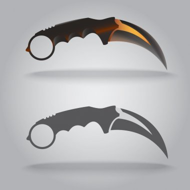 Illustration of karambit sharp knife.Claw shape