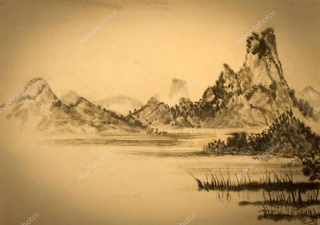 medieval Chinese painting mountains and clouds
