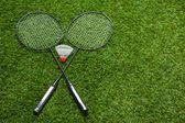 Fotografie překřížené Badmintonové rakety s kuželka