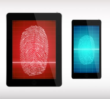 Fingerprint Scanning  on Smart Phone and Tablet  - Illustration.