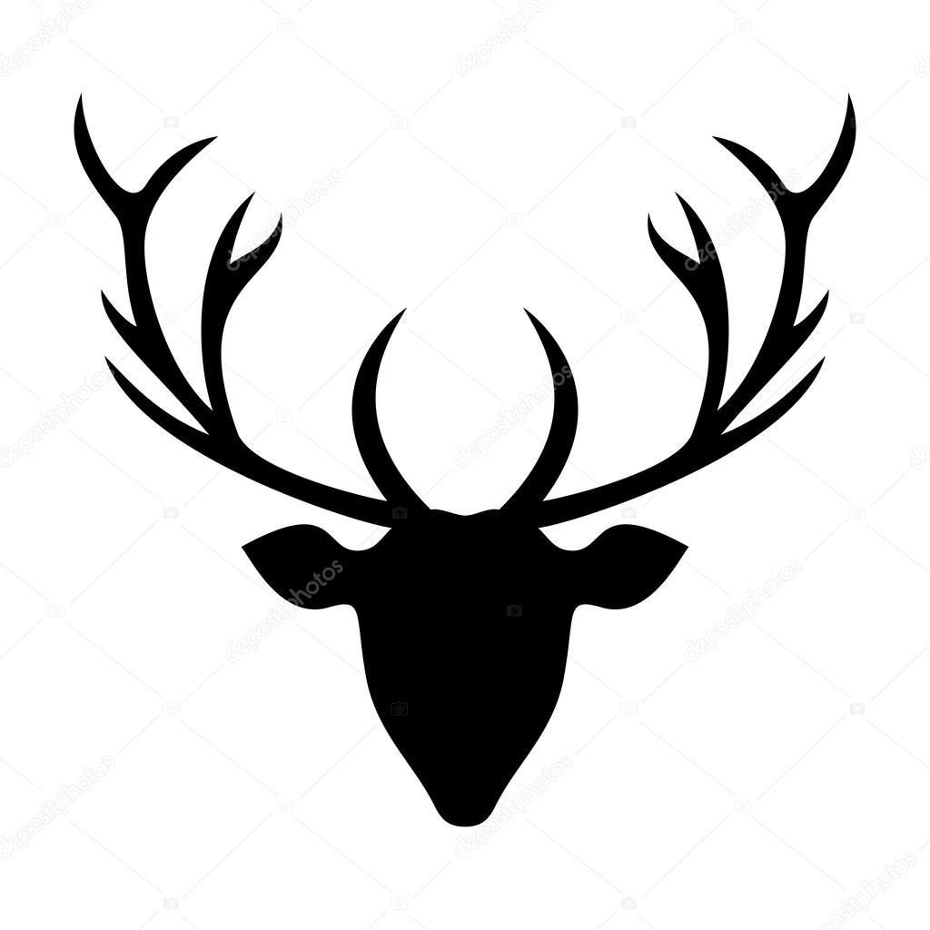 silueta de cabeza de ciervo  ilustración  — archivo