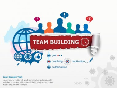 Team Building Graph concept and group of people.